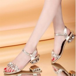 Wholesale Designer High Heel Women Shoe - Bling Lady Flat Sandals Rhinestone Flats Open Toe Summer Shoes womens gladiator sandals designer sandals for women