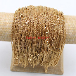 Wholesale Gold 2mm - 10pcs lot in bulk wholesale stainless steel gold thin 2mm 18 inch strong flat oval chain necklace women jewelry