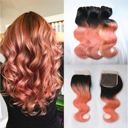 Wholesale Human Hair Roses - Cheap Two Tone 1B Rose Gold Pink Ombre Body Wave Wavy Virgin Human Hair 3 Bundles With 4x4 Lace Top Closure 4Pcs Lot