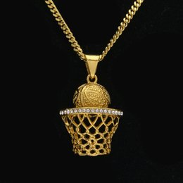 Wholesale Rhinestone Basketball Jewelry - Mens Hiphop Alloy Basketball box Shooting Pendant Necklace Gold Silver Rhinestone Charm Pendants Fashion Hip Hop Jewelry Accessories