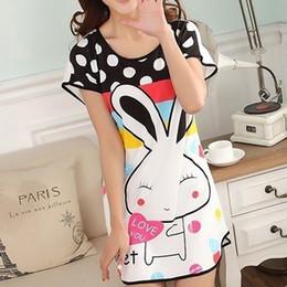 Wholesale Hot Rabbit Dresses - Wholesale- Hot Sale Women Sexy Nightgowns Cartoon polka dot rabbit one Size Sleep Dress Nightwear Silk Ladies Home Dress Summer Style