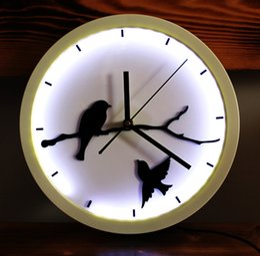 Wholesale Bird Wall Clock Art - Wholesale-Round LED Art Creative Design Wall Clock Cool Modern Round Little Birds Wall Clock Silent Non-ticking Wall Clock