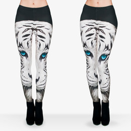 Wholesale Women Tiger Print Pants - Women Leggings White Tiger Blue Eyes 3D Graphic Print Girl Skinny Stretchy Yoga Wear Pants Lady Runner Casual Soft Capris Trousers (J29751)