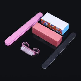 Wholesale Small Nail Files Wholesale - Wholesale- New Arrival 5 PCS Pink Sanding Files buffer block Small cleaning file Nail Tools buffer Block For Manicure Pedicure nail Tools