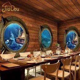paredes cubiertas de madera Rebajas Al por mayor-Custom 3D Stereo Pirate Mural de madera Wallpaper Retro Adventure Theme Bar Restaurante Cafetería Non-woven Wallpaper Home Decor