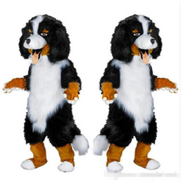 Wholesale Cartoon Dog Costumes For Adults - 2017 Fast design Custom White & Black Sheep Dog Mascot Costume Cartoon Character Fancy Dress for party supply Adult Size