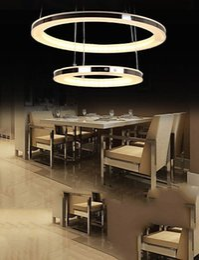 2019 luz de teto pendente cool Lxledlight Rodada LEVOU Luz Pingente de Teto Acrílico Lustre de Iluminação para Casa Deco Sala de jantar com 2 Anéis Lâmpadas Luminárias, cool white-11 luz de teto pendente cool barato