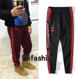 Wholesale Kanye West Pablo Season Lost Mind Sweatpants CALABASAS Active striped Pants Men loose Joggers Black Red Elastic Long Pants for Man