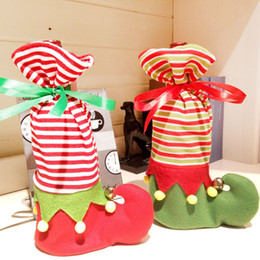 Wholesale Decorative Wine Bottle Covers - Christmas Decorative Supplies Wine Bottles Cover Small Bells Shoe Shape Gift Bags Xmas Holiday Party Decorations