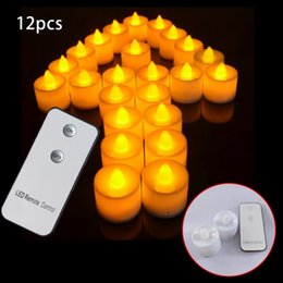 Wholesale Tea Light Remotes - 12pcs Electronic LED Candle Flickering Flameless Tea Light Amber Glow with Remote Control for Wedding Party Xmas Decor