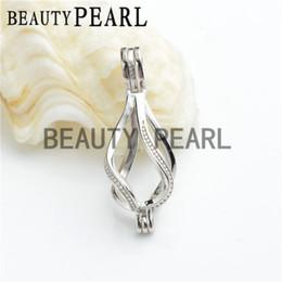 Wholesale Helix Design - Bulk of 3 Pieces Locket Cage Love Wish Pearl 925 Sterling Silver Drop Pendant Helix Twist Design