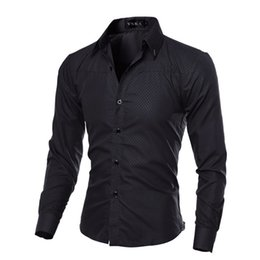 Wholesale Red Dress Shirts Men - 2017 Brand New Men's Dress Shirts Slim Long Sleeve Single-breasted Fashion Casual Clothing Men Argyle Shirts Plus Size Tops M-5XL