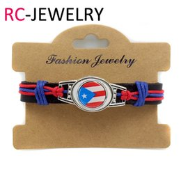 Wholesale Jewelry National Flags - 14# Factory direct hand-made leather bracelet Puerto Rico National flag fashion jewelry explosion men's leather bracelet