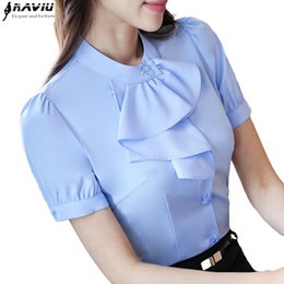 Wholesale Office Blouses Collars - New elegant Ruffles shirt women OL formal slim stand collar short sleeve chiffon blouse office ladies work wear plus size tops