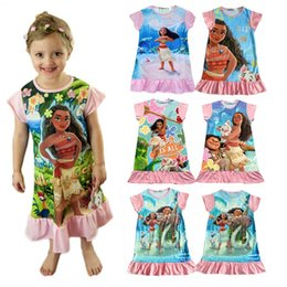 Wholesale Short Princess Dresses - New baby girls Trolls Beauty and the beast dress cartoon Moana printing Princess dresses Kids Clothing 13 colors C1901