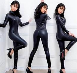 Wholesale Women S Sexy Leather Dresses - 2017 New Black Women Faux Leather Wet Look PVC Catsuit Ladies Girl Fancy Dress Jumpsuit Exotic Clubwear