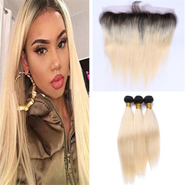 Wholesale Two Tone Human Hair 613 - Two Tone 1B 613 Ombre Straight Virgin Hair Bundles With Lace Frontal Closure Dark Roots Blonde Brazilian Human Hair Weaves With Lace Frontal