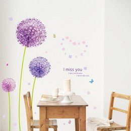Wholesale Dandelions Wall Stickers - Dandelion Wall Stickers Living Room Art Decal Removeable Wallpaper Mural Sticker for Kids Room Bedroom Girls Adhesive Decorative