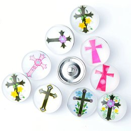 Wholesale Acrylic Button Assorted - wholesale assorted mix colors noosa Gothic cross style 18mm Acrylic Glass Buttons Snaps chunk charms Jewelry for Bracelets brand new