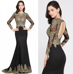 Wholesale Silk Embroidery Pictures - Under $89 Real Picture Long Sleeves Prom Dresses 2017 Cheap Mermaid Appliqued Embroidery Long Evening Wear Gowns Formal Party Dress Mother