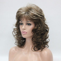 Wholesale Blonde Wigs Bangs - Hivision 2017 New super charming fashion charming blonde mix and light brown medium length curly women's bangs wigs