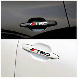 Wholesale Grip Auto - 4pcs set New Car Door Handle Decal Reflective Sticker TRD Car Doorknob Sticker Auto Knob Grip Body Decoration for TOYOTA