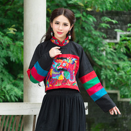 Wholesale Chinese Style Jackets Women - Wholesale- Chinese Style Ethnic Contrast Colorful Linen Loose Cardigan Jacket New Women Autumn Casual Mandrian Collar Jacket