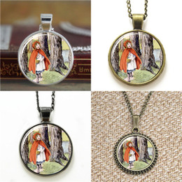 Wholesale Red Riding Hood - 10pcs Little Red Riding Hood Fairytale Necklace keyring bookmark cufflink earring bracelet