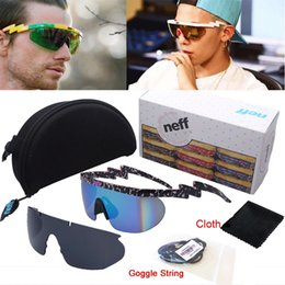 Wholesale Reflective Lenses - Wholesale- Deal With It 2 Pieces Lens Reflective Coating NEFF Sunglasses Men Women Sports Lebron James Goggles With Case String Cloth