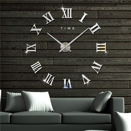 Wholesale Family Landscaping - 3D Roman Acrylic Wall Clock for Family Kids Room DIY Mirror Clock Home Decorations Wall Decals Creative Roman Numerals Wall Art Cartoon