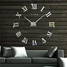 Wholesale Wall Clocks Roman Numerals - 3D Roman Acrylic Wall Clock for Family Kids Room DIY Mirror Clock Home Decorations Wall Decals Creative Roman Numerals Wall Art Cartoon
