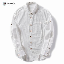 Wholesale Rolled Collars - Men's Cotton Linen Shirts Rolled Sleeves Summer Solid Cotton Shirt Turn-down Collars Casual Shirts Men Asian Size TS-203