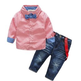 Wholesale Jeans For Boy Children - wholesale 2017 Kids Boys Gentleman Clothes Baby Two Pieces Clothing Toddler Autumn Sets Children Shirt And Jeans Suit For 90-140cm