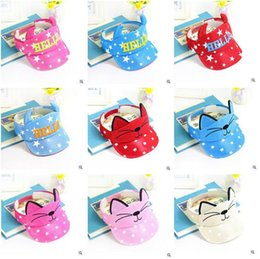 Wholesale Hello Girl Hat - Baby Visors Ears Caps Hats 2017 Summer Hats for Baby 1-3Y Boys and Girls Cat Hello Printed Beach Sun Hats Baby Clothing Accessories