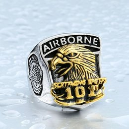 eagles band Promo Codes - Wholesale 2017 New Design USA Airborne Eagle 101 Army Ring Stainless Steel & Copper Man's Unique United States Army Ring