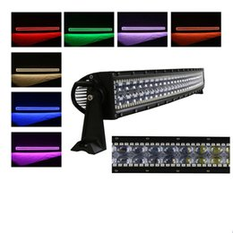 """Wholesale Install Fog Lamps - 4D 52"""" 300w Curved 4D creeLed Work Light Bar installed RGB halo ring driving Lights Fog Lamp Offroad Suv Ute Atv Truck 4x4 Boat"""