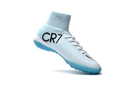 Wholesale Cr7 White Indoor Shoes - 2018 100% Original White Blue CR7 Mercurial Superfly V TF IC Indoor Soccer Shoes Cristiano Ronaldo Mens TF Football Boots