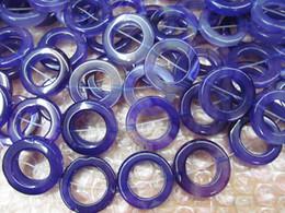 vente en gros 30-50mm violet agate gemstone rond cercle donut vert jaune rouge noir violet violet onyx pendentif perles 3 plein brin ? partir de fabricateur
