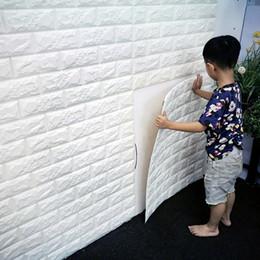 Wholesale 3d Wall Decor Paper - PE Foam red 3D Wall paper Safty Home Decor Wallpaper DIY Wallpaper Brick Living Room Kids Bedroom Decorative Sticker