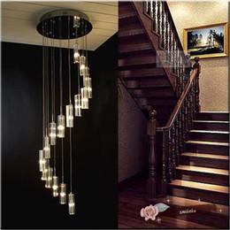 lampadari sferici Sconti Lampade a sospensione in cristallo a doppia scala moderna personalità creativa semplice LED villa rotante tipo S lampada scale
