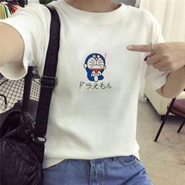 Wholesale Doraemon Bell - Wholesale- New 2017 Factory directly selling short sleeve t-shirt funny tee Doraemon Japanese anime man women Doraemon t shirt