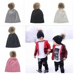 Wholesale Knit Beanies For Babies - Winter Girls Boys Hats Fur Pom Pom Beanies Cotton Cap For Baby Winter Knit Hats With Fur PomPom Thick Warm Hats YYA388