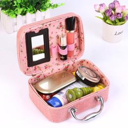 Wholesale Jewellery Cosmetic Organizer - Wholesale- 2017 Crocodile Jewellery Makeup Box Cosmetic Storing Small Square Handbag Travel Pockets Organizer Bag Free Shipping F407
