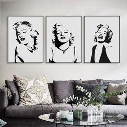 Wholesale Vintage Pop Art Poster - Original Watercolor Marilyn Monroe Portrait Pop Vintage Canvas Art Print Poster Wall Picture Living Room Decor Painting No Frame