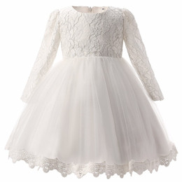 Wholesale Lace Mid Calf Wedding Dress - For Girls Clothes 0-2 Year Birthday Party White Baby Girl Dress Wedding kids clothing New Fashion Flower Lace Newborn Infant tutu Dress