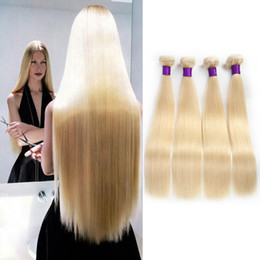 Wholesale Body Hair Bleaching - 7A Brazilian Blonde Straight Hair Weave 100% Human Hair Blonde 613# Color Double Weft No Shedding Tangle Free Can Be dyed 3Bundles lot