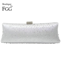 Wholesale Clear Crystal Evening Bag - Wholesale- Silver Clear Crystal Women Satin Evening Clutch Chain Handbags Bridal Wedding Party Dinner Diamond Metal Clutches Shoulder Bags