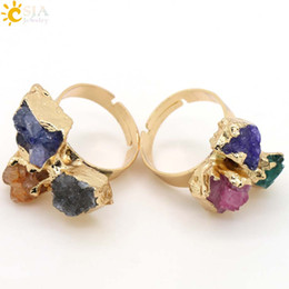 Wholesale Power Chakra - CSJA Special Power Natural Three Stone Finger Rings Reiki Chakra Healing Stones Beads Gold Plated Women Lover Party Jewelry Irregular E098