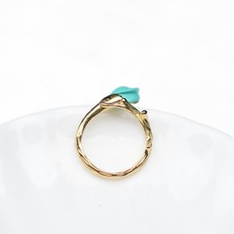 Wholesale Turquoise Stone Ring Free Shipping - 2017 NEW 1 PCS Flores convallariae ring free shipping Natural Stone Ethnic Vintage Geometric Statement Large Rings for Women Turquoise