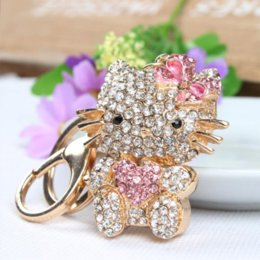 Wholesale Cute Butterfly Keychain - Sweet Heart Pink Hello Kitty Cat Butterfly Cute Crystal Charm Purse Handbag Car Key Keyring Ring Keychain Party Birthday Gift